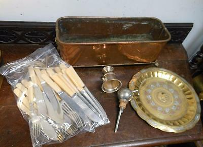 copper plant stand ,cutlery & other items