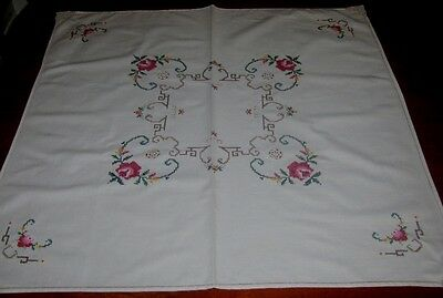 Vintage Cotton Hand Embroidered/lace~ Supper Cloth ~ Cream ~ Square