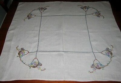 Vintage Hand Embroidered Supper Cloth ~ Linen ~ Cream ~ Square