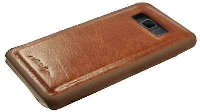 Alston Craig Genuine Leather Magnetic Shell Wallet Case for Galaxy S8 - Brown