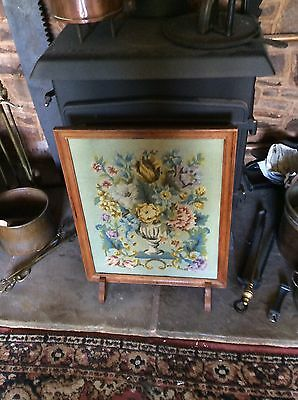 Vintage, Glazed, Embroidered, Oak Framed Fire-screen.