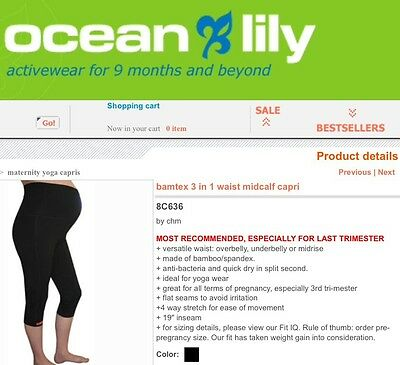 Maternity Leggings Ocean Lily Size Small 10 12 Bamboo Spandex
