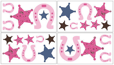 Sweet Jojo Designs Cowgirl Western Bedding Decal Stickers Kids Wall Room Decor