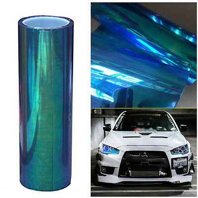 Chameleon Colorful Blue Car SUV Headlight Taillight Vinyl Tint Film Wrap Sticker