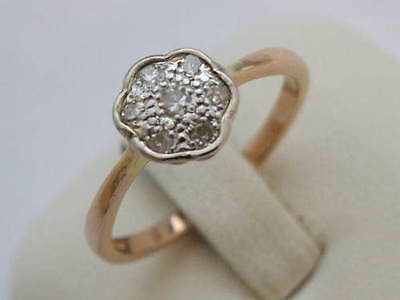 BEAUTIFUL VINTAGE 18Carat 18ct YELLOW GOLD  DIAMOND DAISY CLUSTER RING
