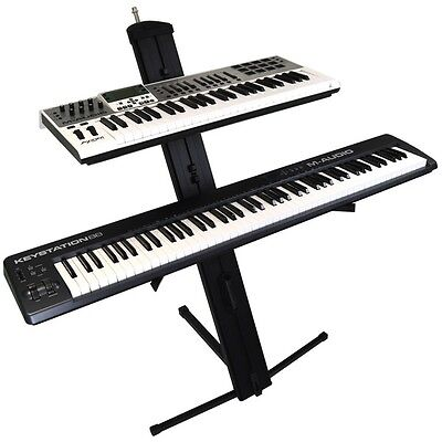 Two (2) Tier Column Keyboard Piano Stand Gorilla High-End Heavy Duty Band Stage
