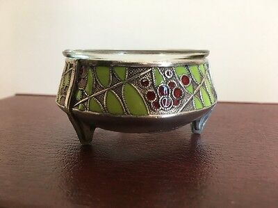 Vintage Russian Silver Plated Enameled Salt Cellar
