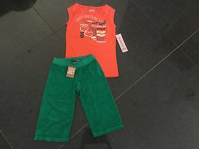 NWT Juicy Couture New & Gen. Green Cotton Crop Pants & T-Shirt Set Girls Age 8