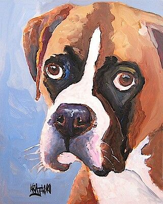 Boxer Dog 11x14 signed art PRINT RJK from painting