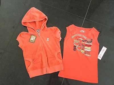 NWT Juicy Couture New & Gen. Girls Age 8 Orange Cotton Hoody & T-Shirt With Logo