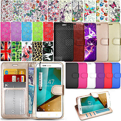 For Vodafone Smart Prime 7 Wallet Leather Case Flip Book Cover+Screen Protector