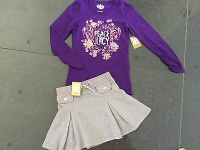 NWT Juicy Couture New & Gen. Grey Cotton Skirt & Purple T-Shirt Set Girls Age 8