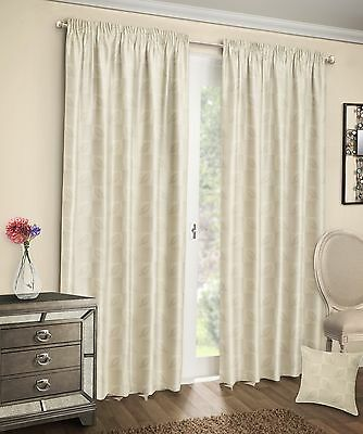 Floral Leaf Cream Jacquard Luxury Ready Made Tape Top Pencil Pleat Curtain Pair