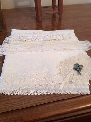 Antique And Vintage Lace Trim, Jabot, And Material For Doll Dressing
