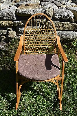 Vintage Vermont Tubbs Ash and Rawhide Snowshoe Rocking Chair, Nice Condition!