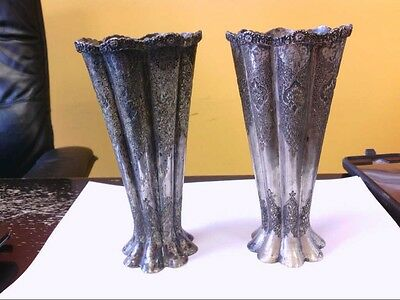 2 - BEAUTIFUL Antique Persian Sterling Silver Vases. Handmade/Nicely Designed!
