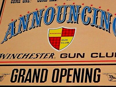 NOS UNUSED NEAR MINT 1960s Vintage WINCHESTER GUN CLUB Old Stand-Up Sign