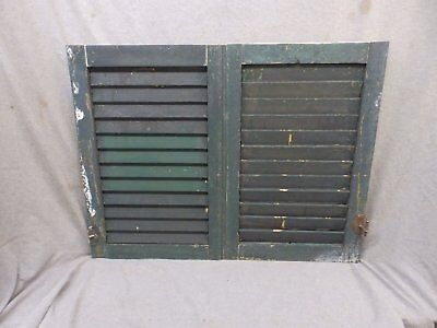 Pair Small Antique Window Wood Louvered Shutter Vintage 24x16 247-17P