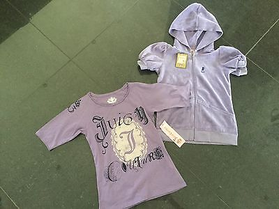 NWT Juicy Couture New & Gen. Girls Age 8 Violet Cotton Hoody & T-Shirt With Logo