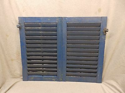 Pair Antique Small Blue Window Wood Louvered Shutter Vintage 25x16 249-17P