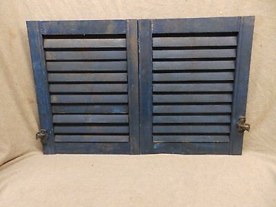 Pair Small Antique Blue Window Wood Louvered Shutter Vintage 20x16 250-17P