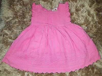 Baby Girls Pretty Pink Floral Frill Summer Dress Size 6-9 Months