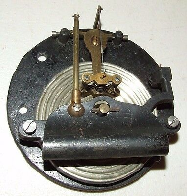 "Antique Brass Aneroid Barometer Movement Part with 4 1/8"" Cast Iron Base"