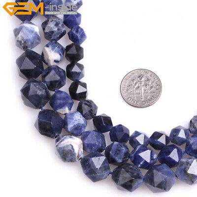 AAA Grade Faceted Blue Sodalite Beads Polygonal for Jewelry Making Strand 15""