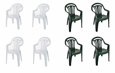 2,4,6 Plastic Low Back Armchair Patio Outdoor Garden Chairs Party Camping Picnic