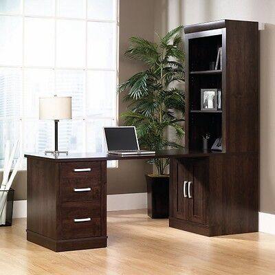 Sauder Office Port Library Desk with Attached Bookcase