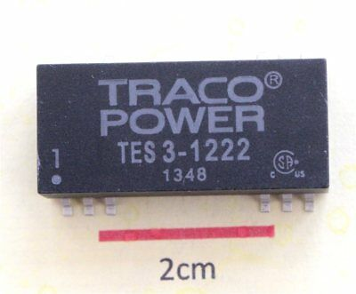 TRACO TES 3-1222 Surface Mount 3W Isolated DC-DC Converter Vin 9 to 18Vdc Vout ±