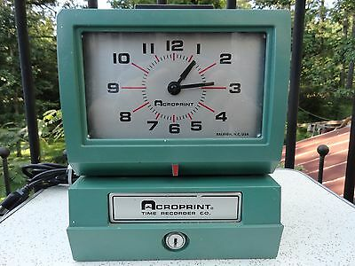 Vintage Acroprint 125NR4 Time Clock Working No Key