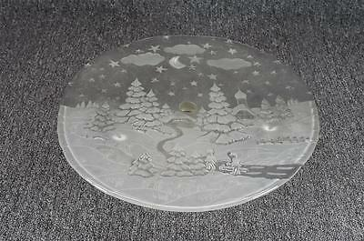 """Mikasa 14 3/4"""" Christmas Theme Footed Frosted Glass Bon-Bon/Serving Platter"""