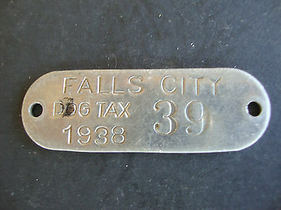 Dog License, 1939 Falls City, Nebraska, Tag, Tax, Metal, Aluminum