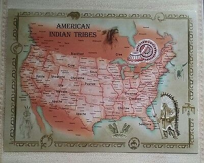 """LARGE American Indian Tribes Postcard / Map 8 1/4"""" x 11""""  NEW"""
