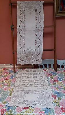 Antique Vintage hand embroidery Madeira table mats set x 6 runner linen floral