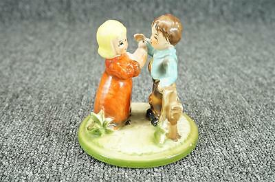 Vintage Kids On Farm Playing With A Chicken Ceramic Figurine Unknown Maker