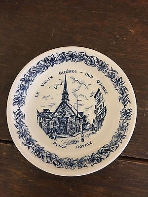 Le Vieux Quebec Blue White Plate butter pat trinket Wood & Sons England