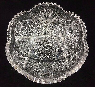 "ABP American Brilliant Period 8"" Cut Glass Fruit Bowl, Russian Cut Gothic Arches"