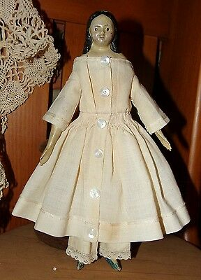"Rare 8"" Antique Milliner's Model Doll Papier Mache Head, Wood Arms & Legs 1840's"