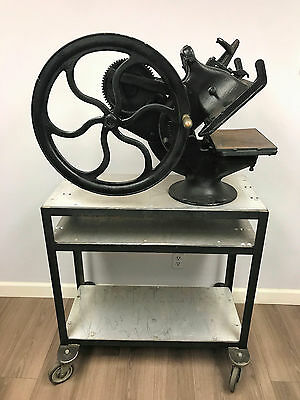 Antique Golding Cast Iron Official Imprinter Letterpress Printing Map Press