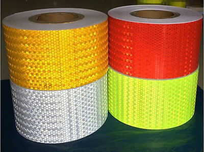 Hi-Vis 10CM x3/10/20/30/43 Meters Roll Adhesive Vehicle Reflective Safety Tape