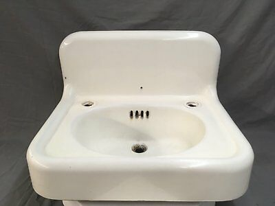 "Antique 24"" Cast Iron White Porcelain Wall Mount Bath Sink Vtg Standard 486-17E"