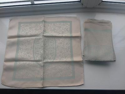6 vintage cream/green table napkins silky linen?