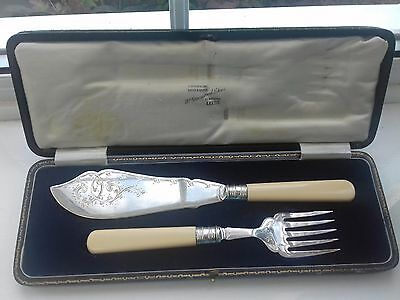 Antique silver plated fish serving set decorative engraving boxed HF & Co.