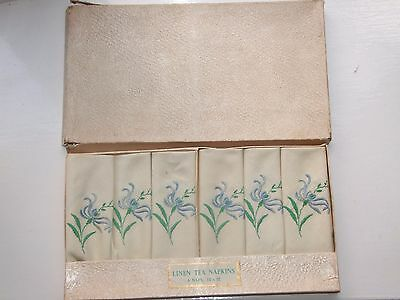 Box of 6 vintage linen tea napkins