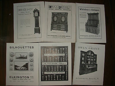 Job Lot Of 6 Vintage 100 Year Old Adverts For London Antique Shops Lot 20
