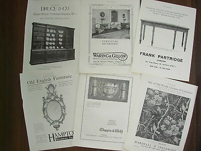 Job Lot Of 6 Vintage 100 Year Old Adverts For London Antique Shops Lot 12
