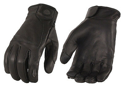 MENS Black Leather TOUCH SCREEN Riding Gloves LED FINGER LIGHT Phone Motorcycle