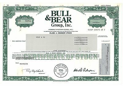 Stock Certificate of Bull & Bear Group, Inc.